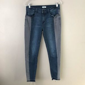 Kensie two toned raw hem skinny ankle jeans